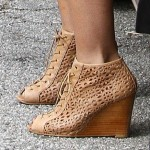 Audrina Patridge New Reality Show Filming in Stuart Weitzman Perfbootie Cutout Wedge Booties