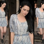 Kristen Stewart in Mulberry Braided Booties at the Mulberry Spring/Summer 2012 Fashion Show