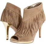 Libby Edelman Bellamy Metallic Platform and Heel Fringe Booties