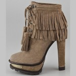 Megan Fox in B Brian Atwood Tempesta Suede Fringe Booties