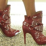 Alessandra Ambrosio Makes Wearing Red Studded Stiletto Boots Look Easy
