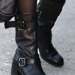 Rose McGowan Toughens Up with Leather Moto Boots