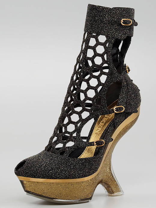 Alexander McQueen Metallic Sugar Honeycomb Wedge Boot
