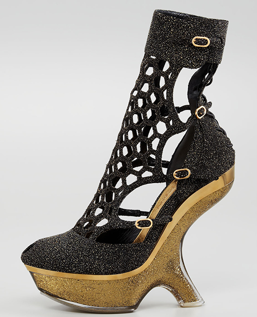 Alexander McQueen Metallic Sugar Honeycomb Wedge Boot1