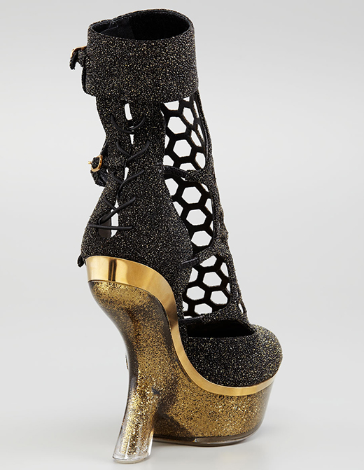 Alexander McQueen Metallic Sugar Honeycomb Wedge Boot2