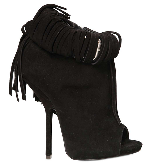 Giuseppe Zanotti Spring 2013 Suede Fringed Low Boots in Black2