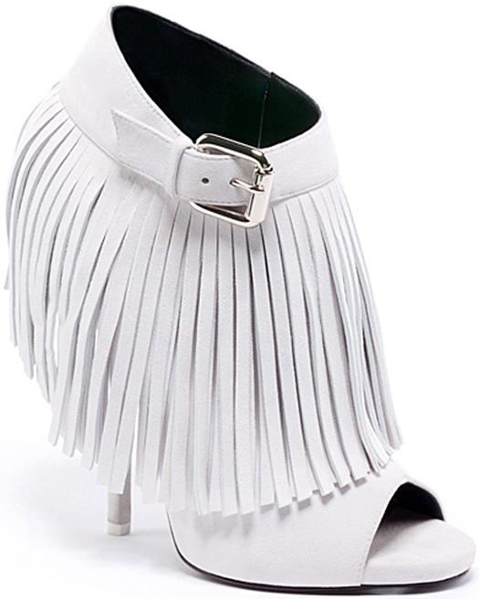 Giuseppe Zanotti Spring 2013 Suede Fringed Low Boots in White