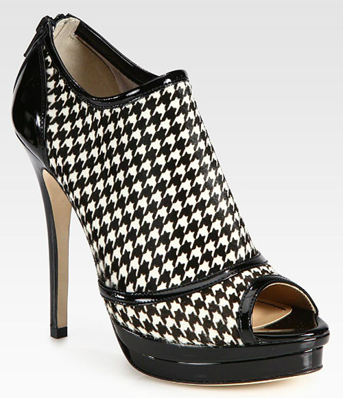 Jerome C. Rousseau Houndstooth Calf Hair & Patent Leather Ankle Boot