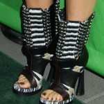 Celebrity Mom Salma Hayek in Bold Balenciaga Open Toe Boots