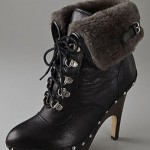 Jessica Simpson in Miu Miu Shearling-Lined Lace-Up Platform Boots