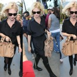 January Jones Lakers Game Attendee in Alexander Wang Sigrid Over The Knee Boots with Notched Heels