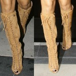 Rihanna Shops at Saks in Giambattista Valli Lace-Up Knee-High Peep Toe Boots