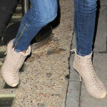 Charlize Theron's Night Out at Nobu in Gucci Woven Calfskin Booties