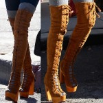Ashley Tisdale Does Our Christmas Greetings for Us in Jeffrey Campbell Devandra Lace Up Boots