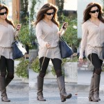 Eva Longoria Visits Ken Paves Salon in Charles David Gratitude Leather Knee-High Boots