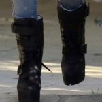 Kourtney Kardashian Kickin' It Back in Beverly Hills in Koolaburra Jaden Stiletto Biker Boots