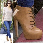 Eva Longoria Steps Out in Fab Tan Lace-Up Booties for a Visit to a Salon
