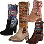 The Hottest Boot Trend This Fall 2012 Is Last Year's Leather Boots with Printed Fabric-Paneled Shafts