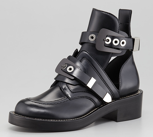 Balenciaga Cutout Buckled Booties