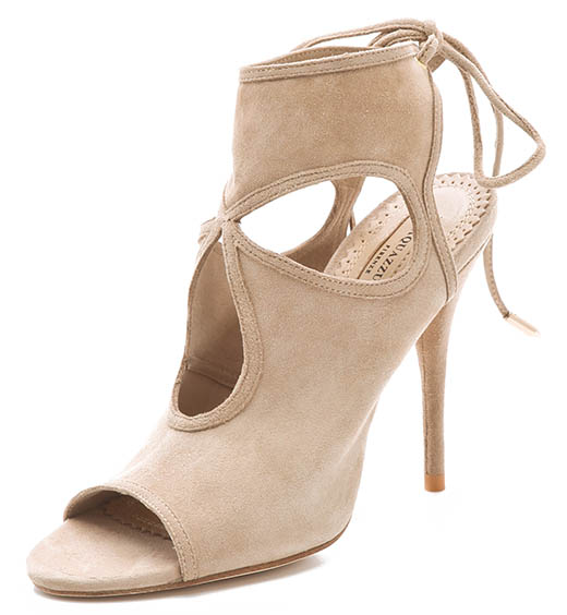Aquazzura Sexy Thing Cutout Booties in Nude