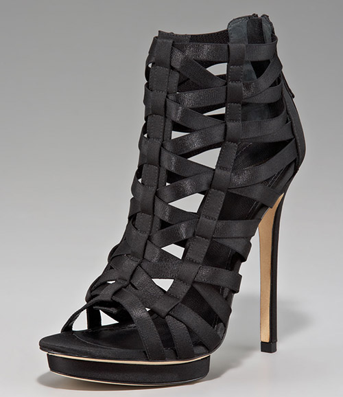 B Brian Atwood Strappy Cage Sandal Booties