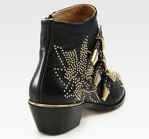 Chloe Suzanne Studded Leather Buckle Ankle Boots1