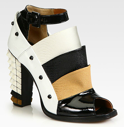 Fendi Polifonia Leather Spiked-Heel Ankle Boots