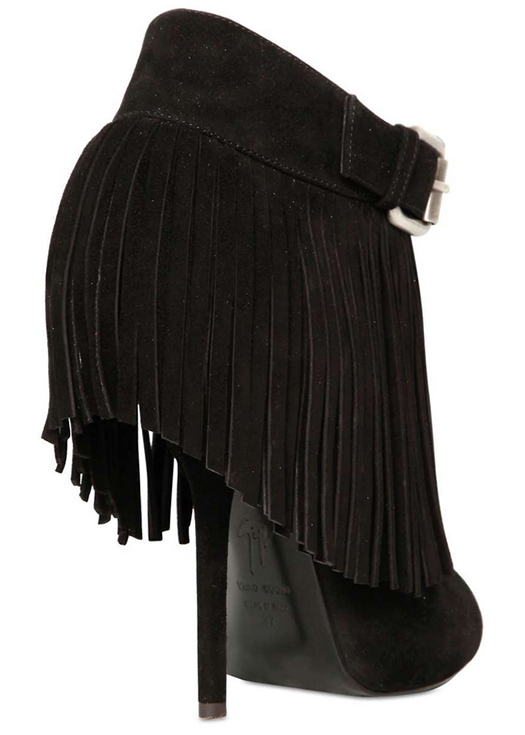 Giuseppe Zanotti Spring 2013 Suede Fringed Low Boots in Black4