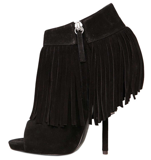 Giuseppe Zanotti Spring 2013 Suede Fringed Low Boots in Black5