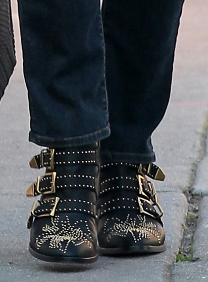Halle Berry in Chloe Studded Leather Buckle Ankle Boots