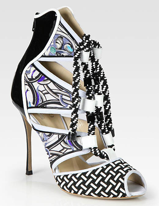 Nicholas Kirkwood Mixed Media Beaded Lace-Up Ankle Boots