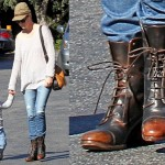 January Jones Steps Out in Cap-Toe Lace-Up Boots for a Lunch Date with Her Son