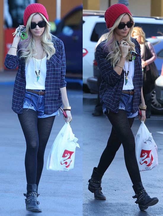 Ashley Tisdale seen heading to Rite Aid with a male friend